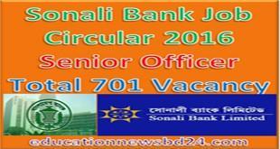 Sonali Bank Job Circular 2016 Senior Officer